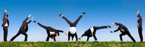 acrobatic business man in black